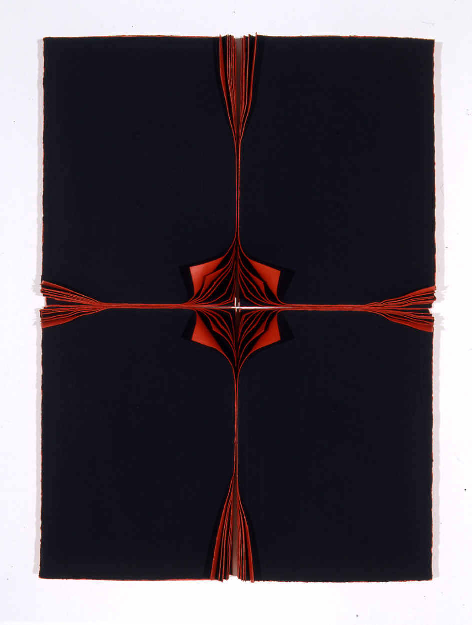 <i>Bloodlight Stack: 24 Leaves</i>; 2002; pigment, acrylic on acid-free paper in persex box;  79 x 64 x 10.5 cm;  Exhibited at Sherman Galleries in 2002 (Allegoria); Private Collection