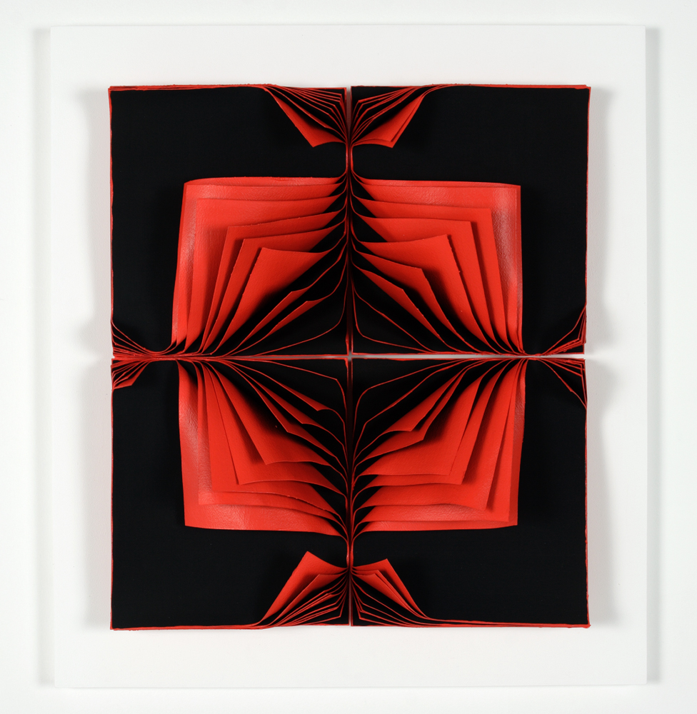 <i>Bloodlight Stack: 40 leaves</i>; 2006; paper, acrylic, pigment, pins, perspex box;  65 x 55 x 15 cm;  Private Collection