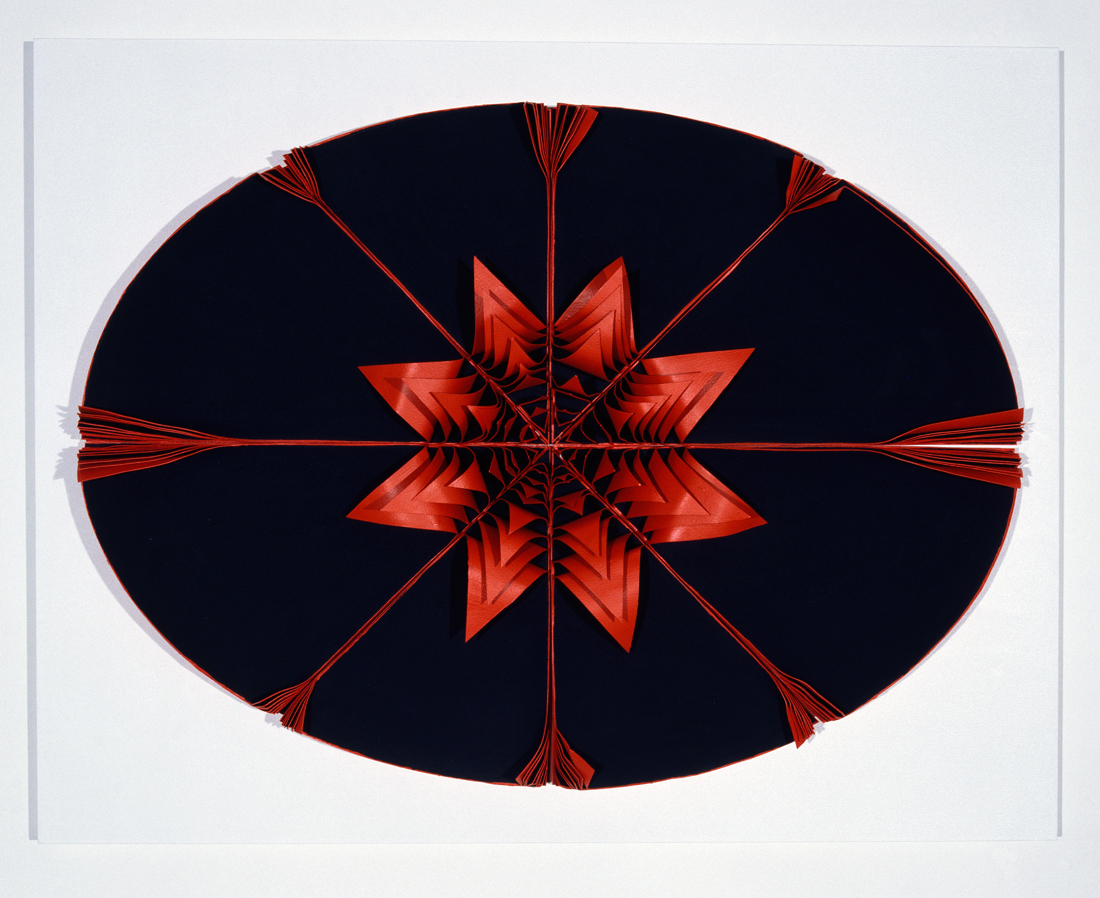 <i>Bloodlight Stack: 80 leaves</i>; 2007; paper, acrylic, pigment, pins, perspex box;  71 x 90 x 13 cm;  Private Collection