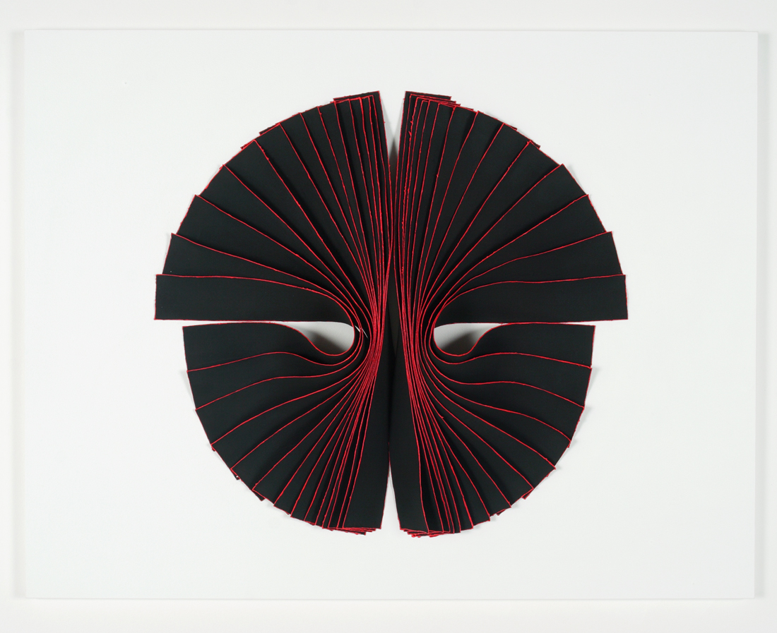 <i>Bloodlight Strip: Fig. 3</i>; 2006;  linen, acrylic, pigment, pins, perspex box;  71 x 91 x 11.5 cm;  Private Collection