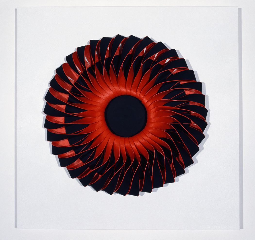 <i>Bloodlight Strip: Fig. 5</i>; 2006;  canvas, acrylic, pigment, pins, persex box;  70.5 x 70.5 x 12.5 cm;  Collection: Glasshouse Museum