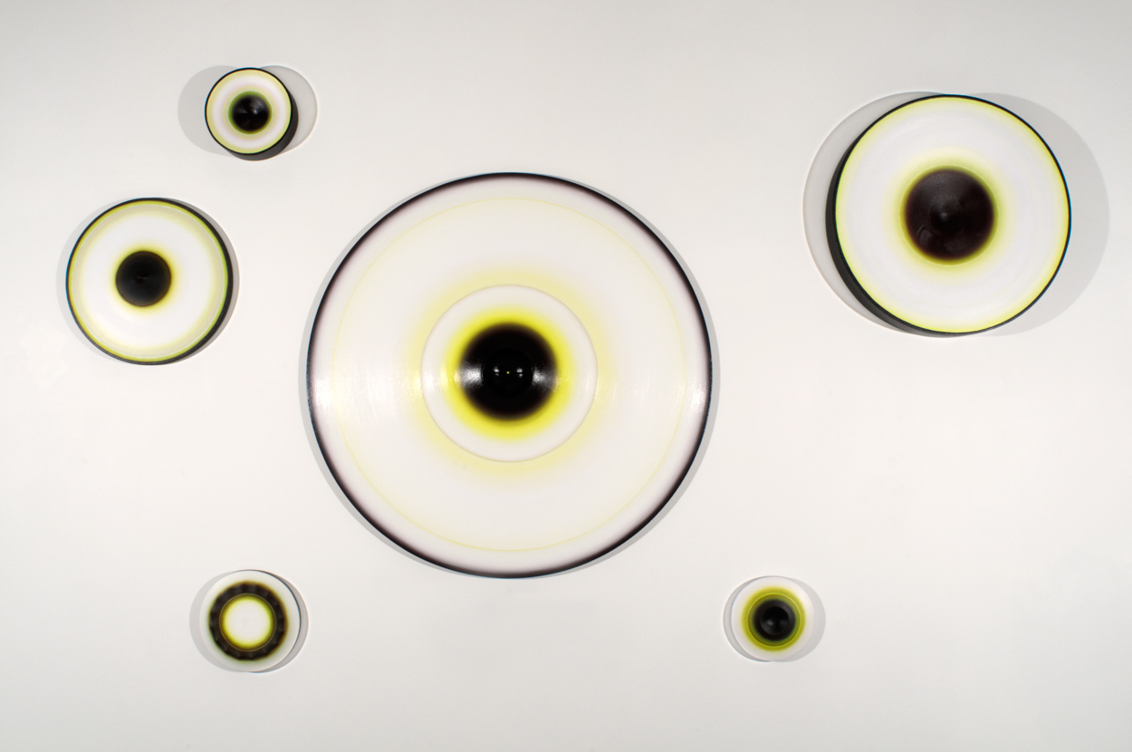 <i>Lune Lumina: Nos. 1-6</i>; 2008-09;  canvas, oil, wood;  variable orientation; private collection, Sydney