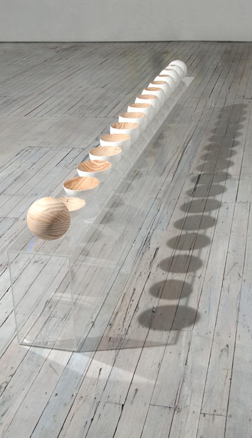 <i>Moonlight Tsukimi</i>; 2008-09; laminated Radiata pine, duck eggshell, perspex display;  57 x 327 x 24 cm