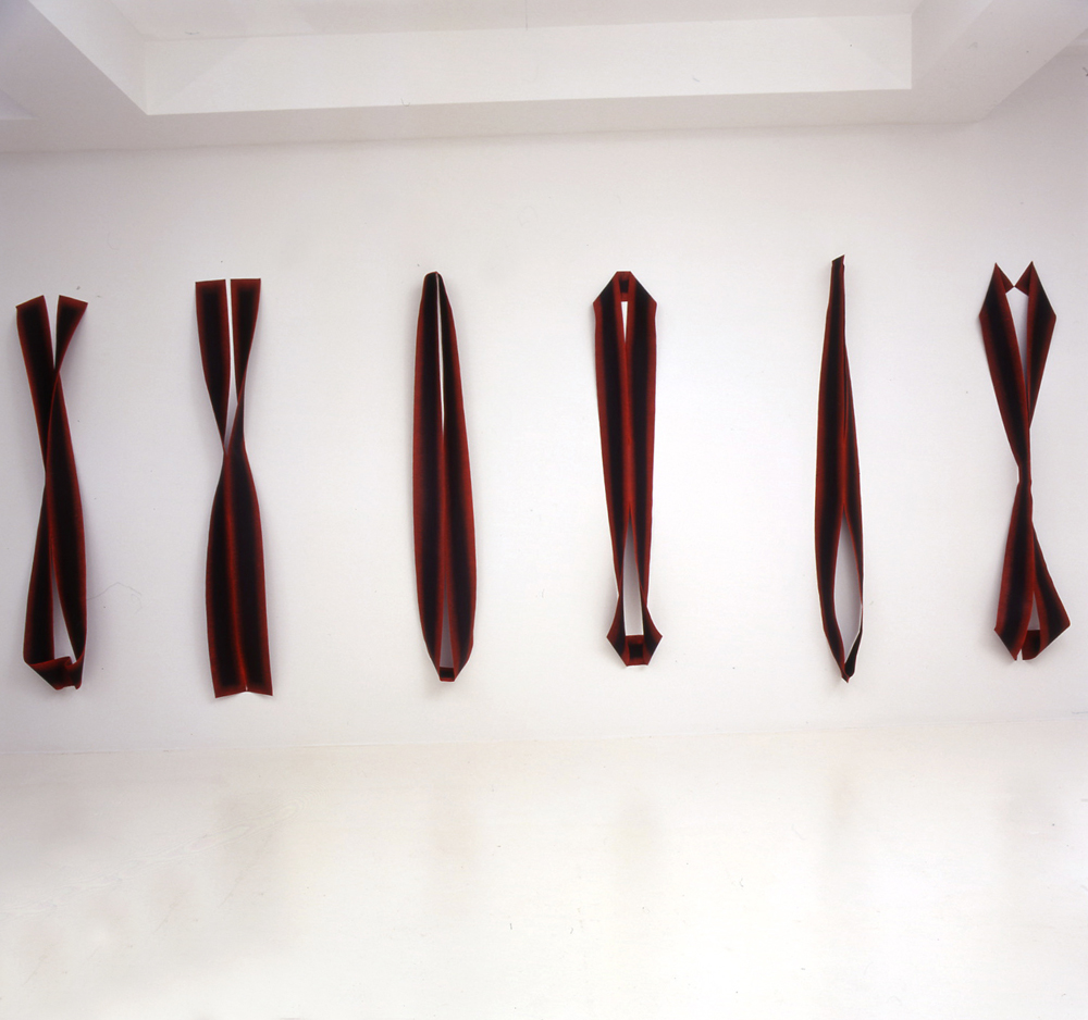 <i>Bloodlight Series: Cut and Curl Figures. 1- 6</i>;  oil, pigment, jute, pins;  Private Collection