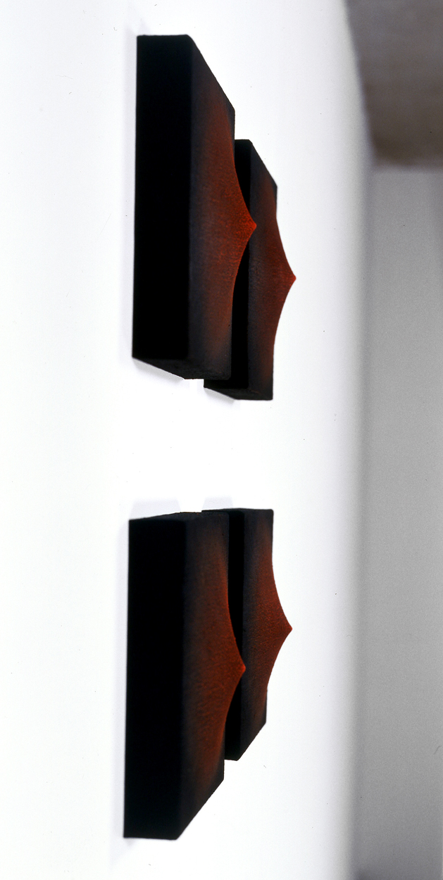 <i>Bloodlight Series: II, III, IV, V</i>; 2000;  oil and pigment, jute, timber;  34 x 34 x 11 cm (each)