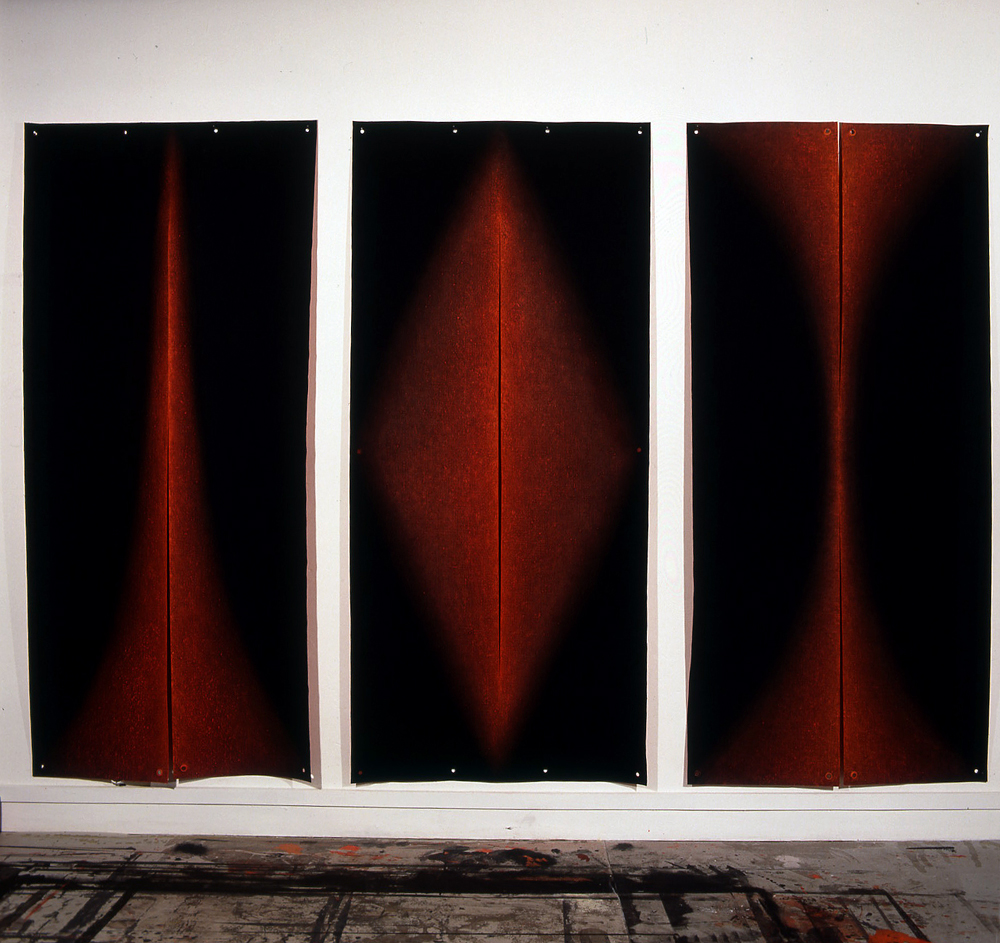 <i>Bloodlight Series: Gesture I, Gesture II, Gesture III</i>; 1995;  oil & pigment on jute;  226 x 103 cm (each);  Private Collection
