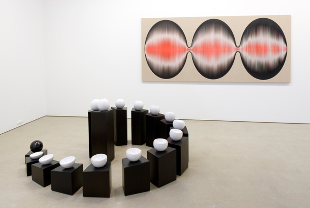 <i>Moons Metronome: Tsukimi No. 1 </i>;2007; Empress White Marble, Chinese Black Marble, gold etched rims, on recycled ironbark plinths; 85 x 146 x 180 cm; in situ in Exotic Particles exhibition 2009