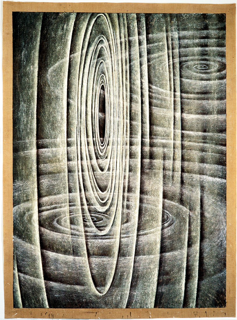 <i>Void Series: Equilibrium</i>; 1994-97;  oil and pigment on jute;  236 x 170 cm