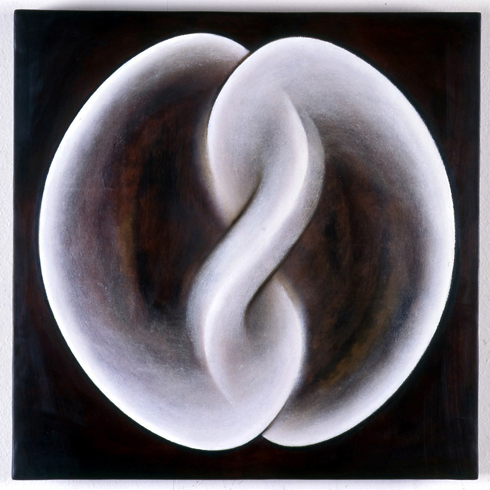 <i>Primordial One: Figure C</i>; 1997;  bees wax, resin, oil, muslin, wood;  60 x 60 x 6 cm each;  Exhibited at Sherman Galleries, 1998 (Tapestry of Detail)