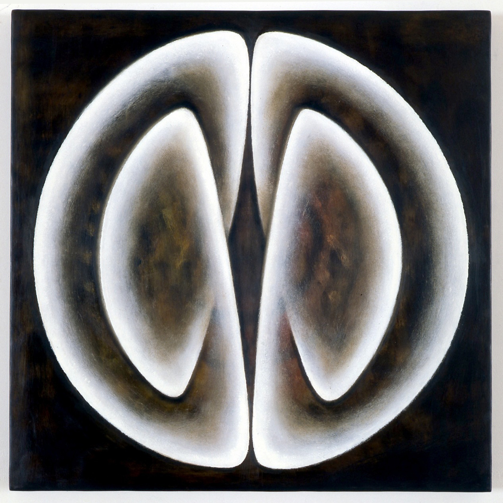 <i>Primordial One: Figure D</i>; 1997;  bees wax, resin, oil, muslin, timber;  60 x 60 x 6;  Private Commission