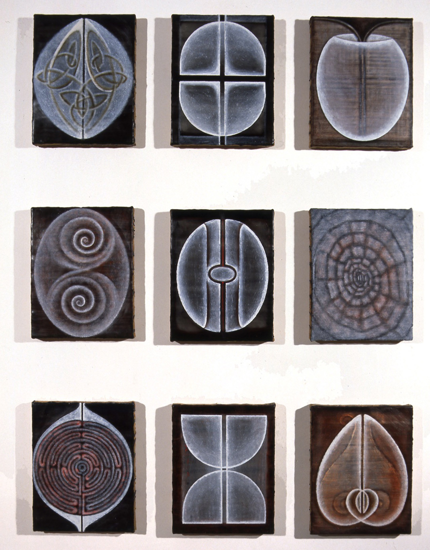 <i>Primordial Alphabet: Relationship Figures I-IX</i>; 1995;  oil on wax on jute;  22 x 20.5 cm each