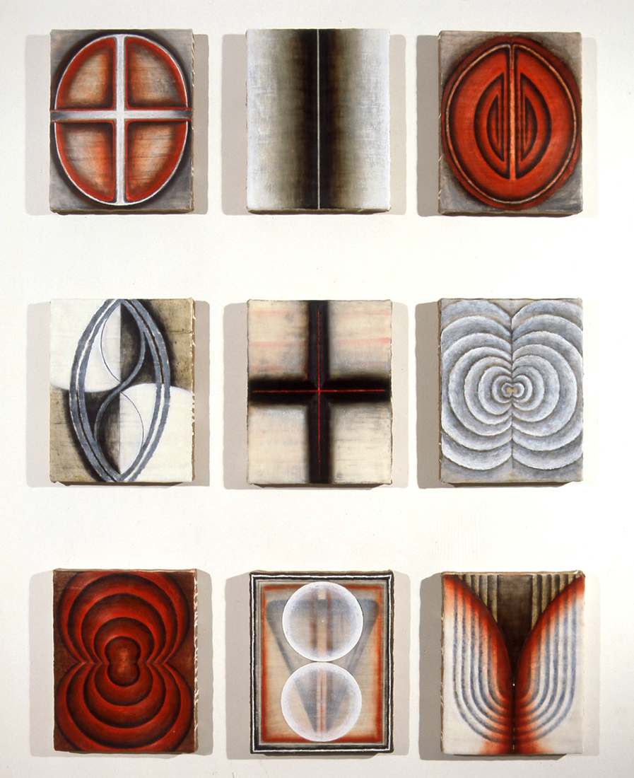 <i>Primordial Alphabet: Time Figures I-IX</i>; 1995;  bees wax, oil, jute, wood;  28.5 x 22.5 cm each