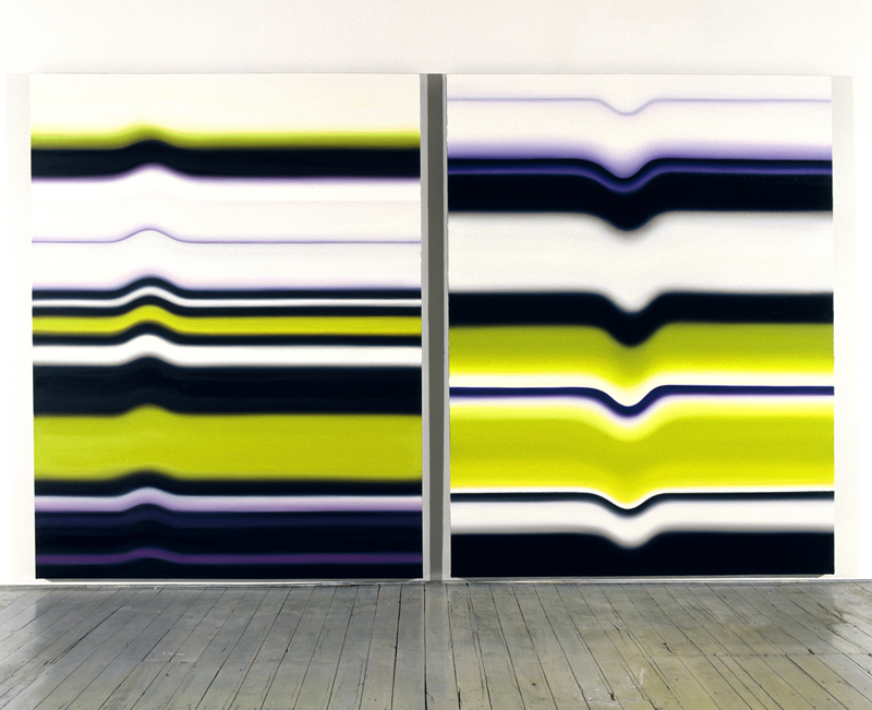 <i>Strobe Series: Nos. 3 & 4</i>; 2007; oil on canvas; 197 x 152 cm each; Exhibited at Sherman Galleries in 2007 (Flux & Permanence); Collection: NRAG