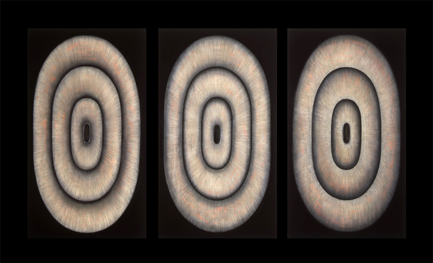 <i>Mnemona Suite: No I, II, II</i>; 1995;  oil and pigment on linen;  195 x 114 cm (each panel)