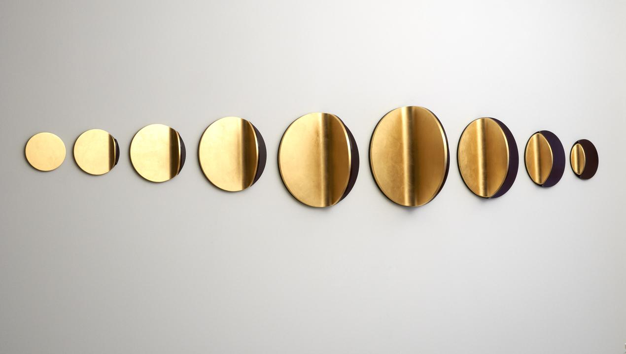 <i>Candescent moon linear: No. 1</i>; 2012; gold leaf, MDF, polyurethane; 70.0 x 455.0 x 40.0 cm