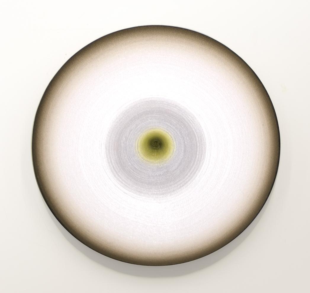 <i>Lune Lumina: No. 20</i>; 2013;  canvas, oil, timber;  18cm diameter