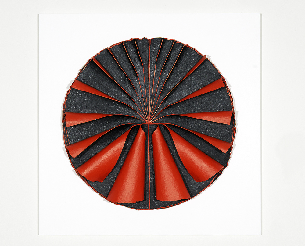 <i>Bloodlight Fan Unfurled: No. 1</i>; 2014; hand made paper, acrylic, timber, Perspex box; 66.5 x 66.5 x 12.0 cm