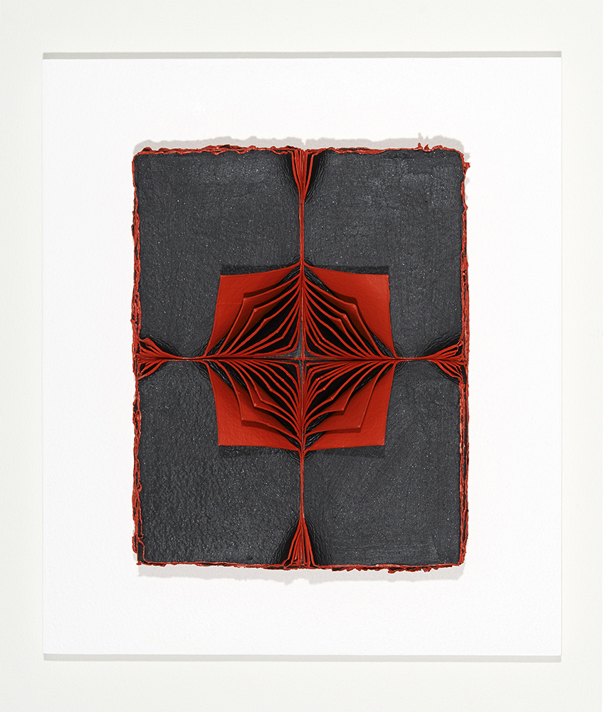 <i>Bloodlight Stack: 40 Leaves Figure G</i>; 2014; hand made paper, acrylic, timber, Perspex box; 46.7 x 40.7 x 11.2 cm