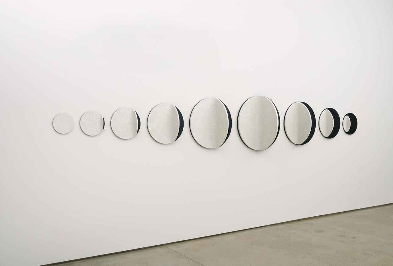 <i>Candescent moon linear: No. 2</i>; 2013; duck eggshell, MDF, polyurethane; 70.0 x 453.0 x 40.0 cm