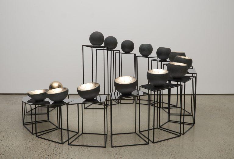 <i>Bronze Tsukimi: No. 1</i>; 2017; bronze, stainless steel, mirror stainless steel; 85 x 168 x 167 cm