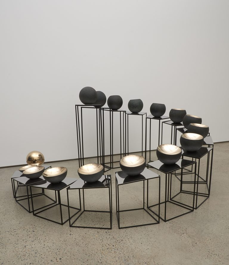 <i>Bronze Tsukimi: No. 1</i>; 2017; bronze, stainless steel, mirror stainless steel; 85 x 168 x 167 cm
